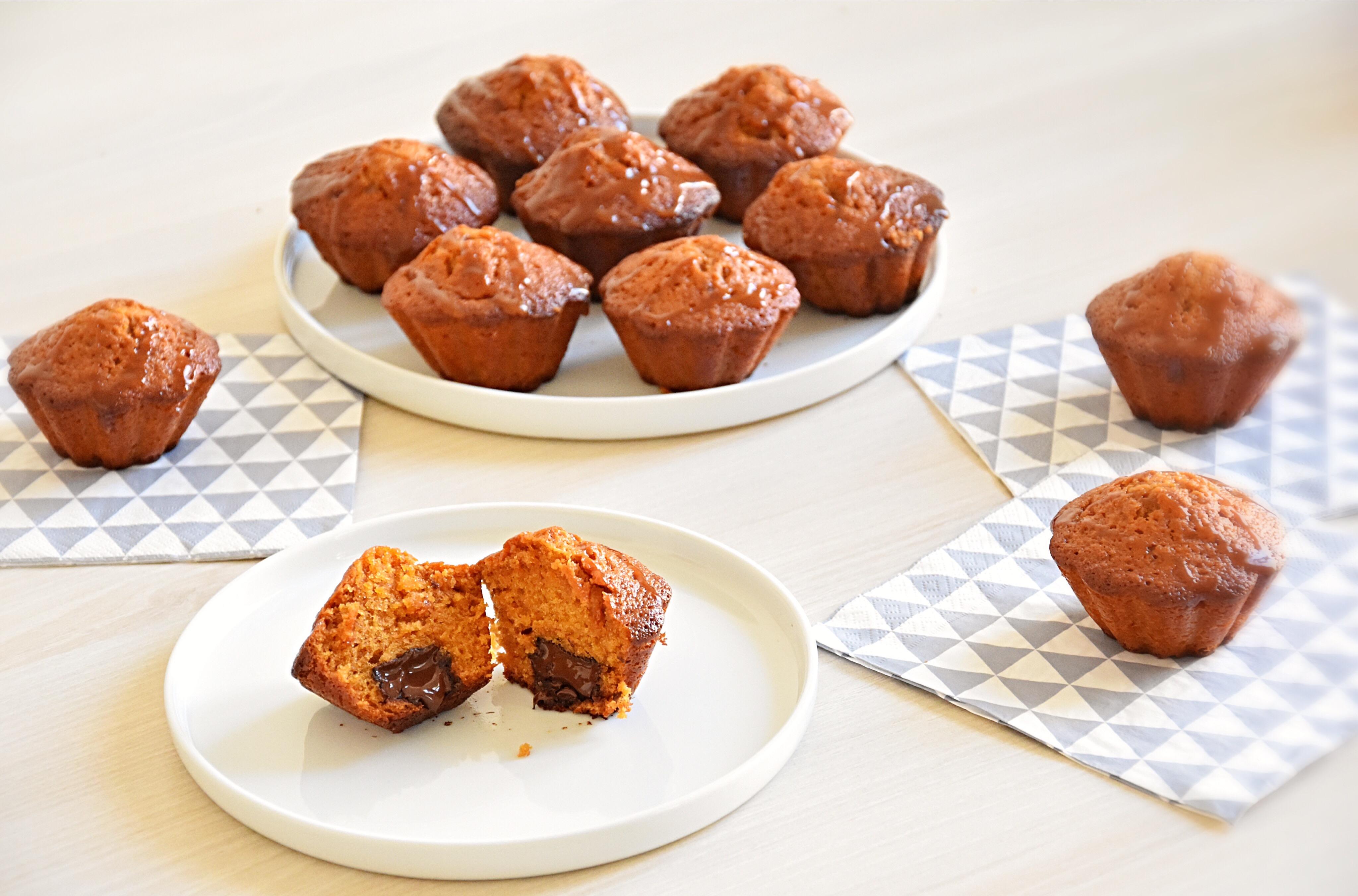 Muffins caramel beurre salé, coeur coulant chocolat