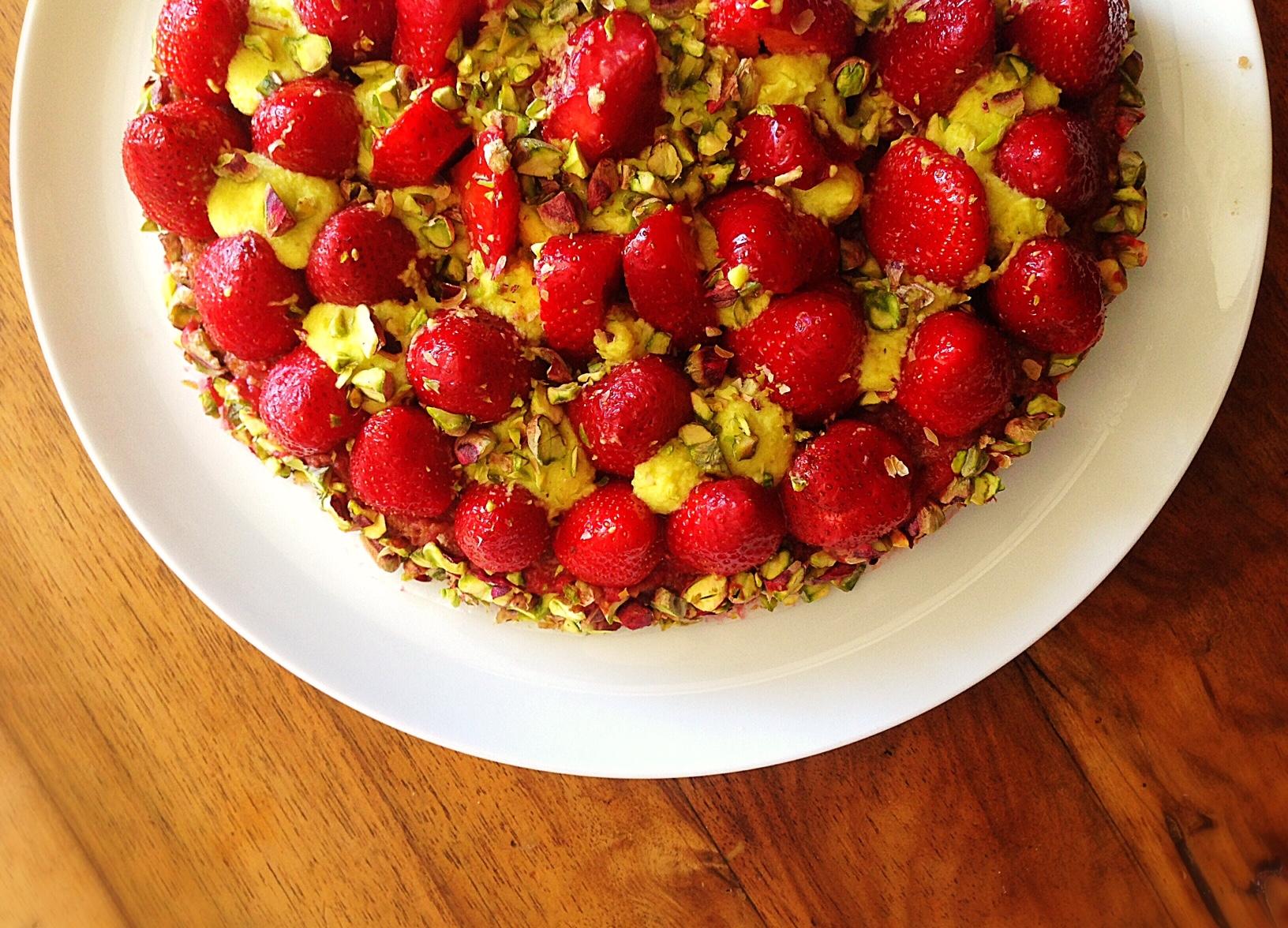 Tarte fraise & pistache (Christophe Michalak)