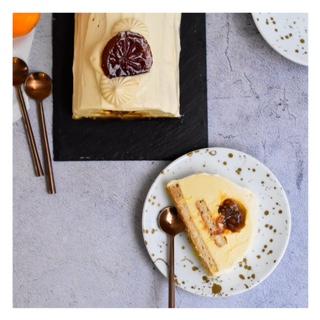 Bûche agrumes, miel & crème brûlée