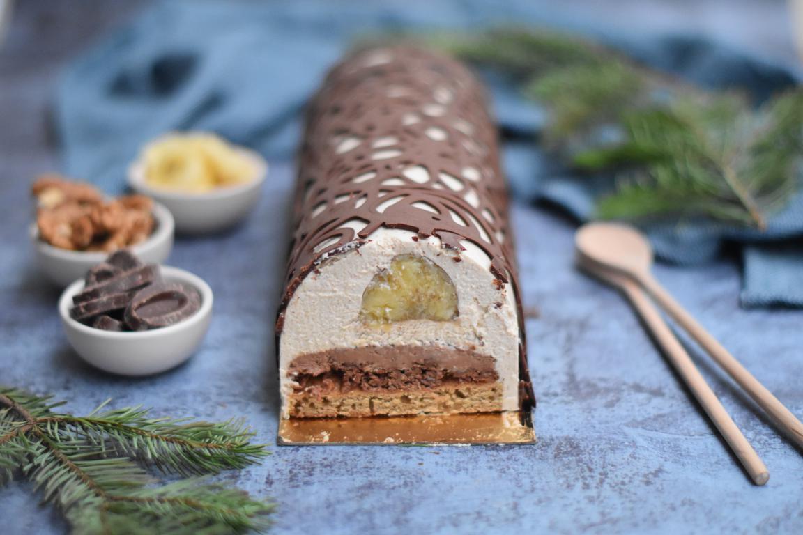 Bûche chocolat, praliné noix & banane