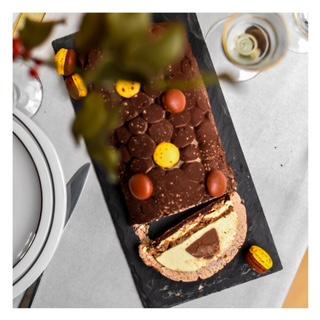 Bûche Mogador (chocolat au lait & fruit de la passion)