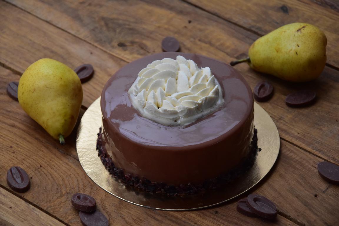 Entremet poire, sirop d'érable et chocolat Jivara