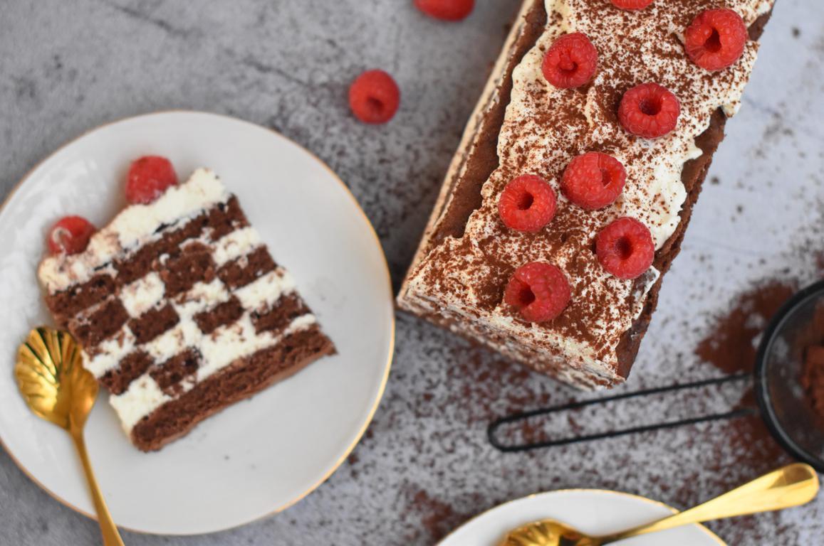 Gâteau damier chocolat & chantilly