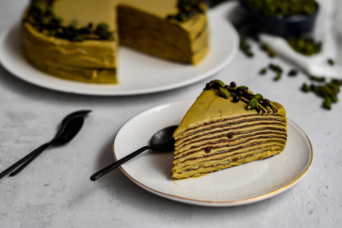 Gâteau de crêpes chocolat & pistache
