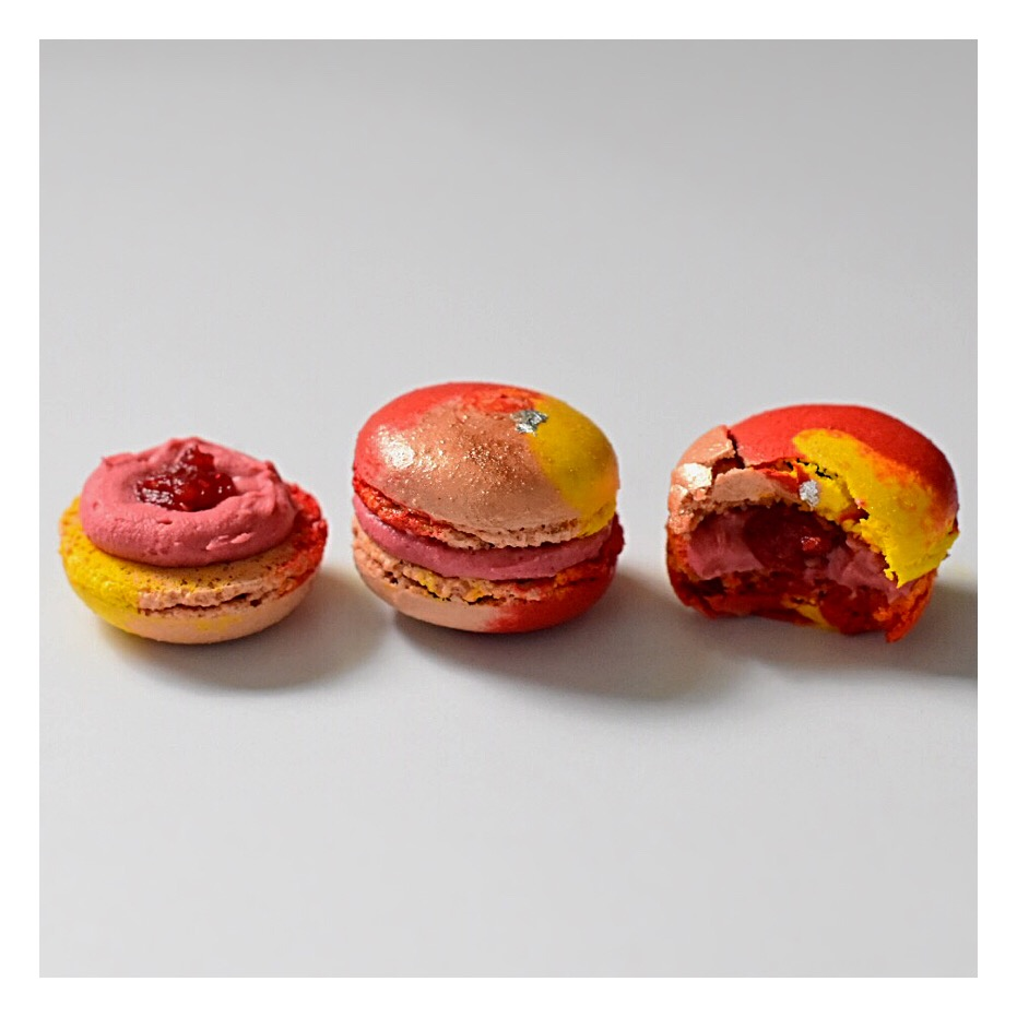 Macarons yuzu, framboise & pamplemousse