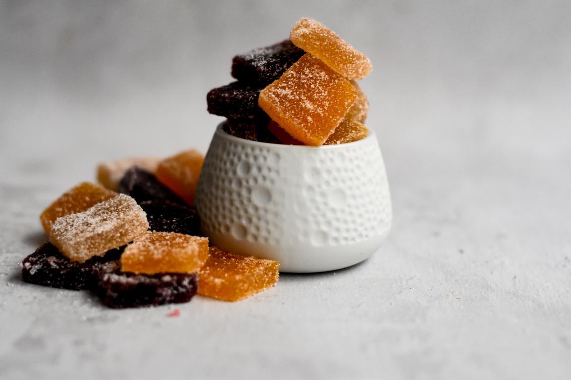 Pâtes de fruits (poire, framboise, clémentine)