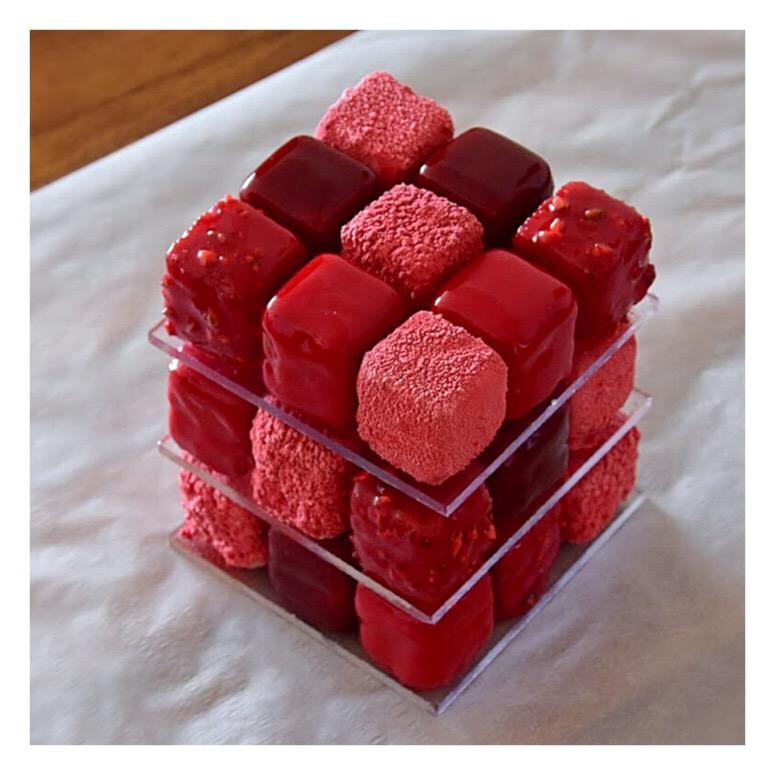 Rubik's cake pistache & framboise (inspiration Cédric Grolet)