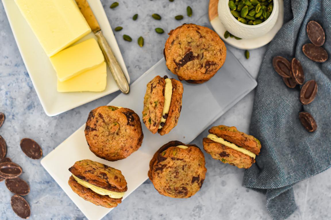 Cookies-sandwiches pistache & chocolat